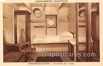 shi050187 - Theophile Gautier, Une Cabine de 1 Classes Messageries Maritimes Ship Postcard Post Card