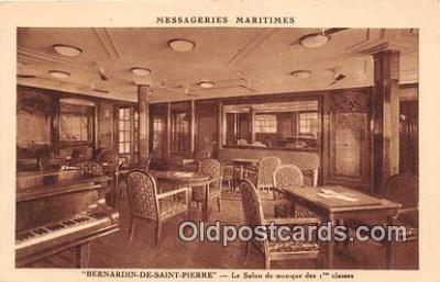 shi050192 - Bernardin De Saint Pierre, Le Salon de Musique Des 1 Classes Messageries Maritimes Ship Postcard Post Card