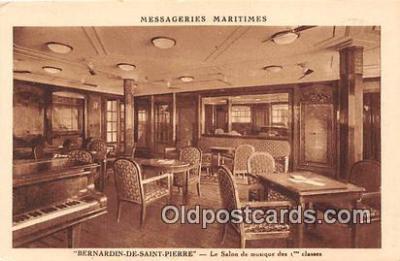 shi050211 - Bernardin De Saint Pierre, Le Salon de Musique Des 1 Classes Messageries Maritimes Ship Postcard Post Card
