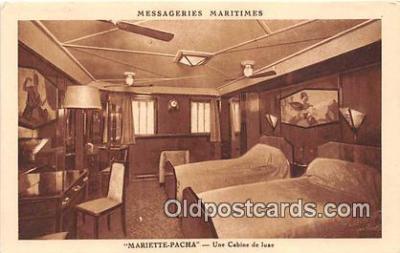 shi050216 - Mariette Pacha, Une Cabine De Luxe Messageries Maritimes Ship Postcard Post Card