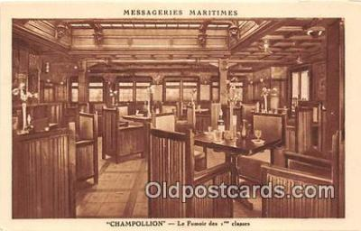 shi050220 - Champollion, Le Fumoir Des 1 Classes Messageries Maritimes Ship Postcard Post Card