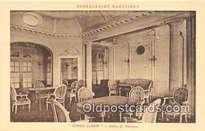 shi050226 - Andre Lebon, Salon De Musique Messageries Maritimes Ship Postcard Post Card