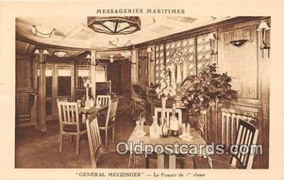 shi050228 - General Metzinger, Le Fumoir De 1 Class Messageries Maritimes Ship Postcard Post Card