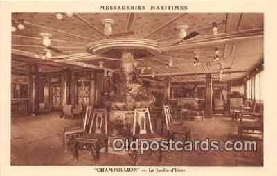 shi050229 - Champollion, Le Jardin d'Hiver Messageries Maritimes Ship Postcard Post Card