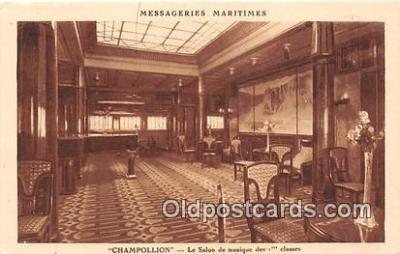 shi050231 - Champollion, Le Salon De Musique Des 1 Classes Messageries Maritimes Ship Postcard Post Card