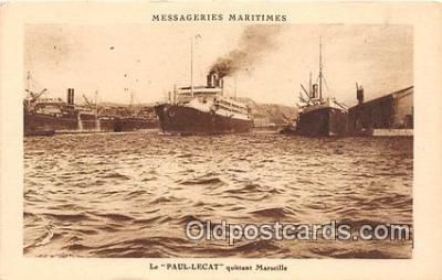 shi050236 - Le Paul Lecat, Quittant Marzcille Messageries Maritimes Ship Postcard Post Card