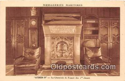shi050242 - Athos II, La Cheminee Du Fumoir Des 1 Classes Messageries Maritimes Ship Postcard Post Card