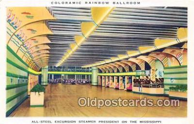 shi050248 - Coloramic Rainbow Ballroom All Stell Excursion Steamer President on the Mississippi Ship Postcard Post Card