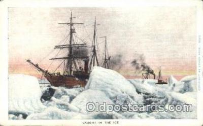 shi051008 - Caught  in ICE Ship Wrecks, Ships Postcard Postcards