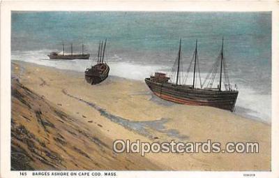 shi051026 - Barges Ashore Cape Cod, Mass Ship Postcard Post Card