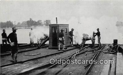 shi051034 - Reproduction - Soldiers Sounding the East River with Cannon  Ship Postcard Post Card