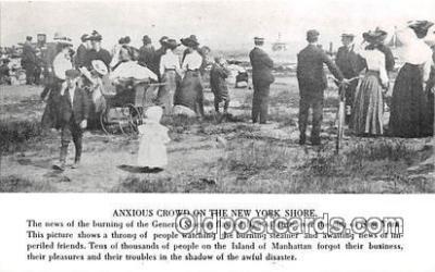 shi051045 - Reproduction - Anxious Crowd New York Shore Ship Postcard Post Card