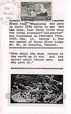 shi051055 - Chaplains Dorchester, Torpedoed Feb 23, 1943 Ship Postcard Post Card