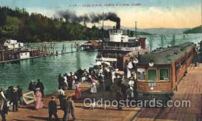 shi052003 - Dock Scene,Coeur D'alene,Idaho,USA Ferry Boat Boats, Ship Ships Postcard Postcards