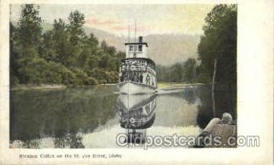 shi052009 - Streamer, Colfax on the St. Joe River, Idaho Ferry Boat Boats, Ship Ships Postcard Postcards