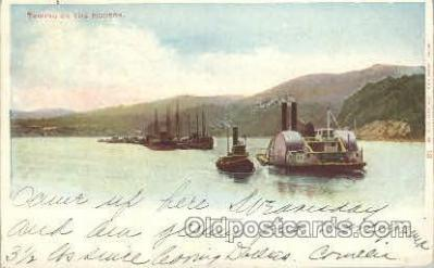 shi052011 - Towing on the Hudson Ferry Boat Boats, Ship Ships Postcard Postcards