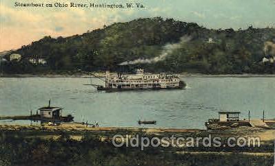 shi052017 - Streamer on Ohio River, Huntington,W,VA.,USA Ferry Boat Boats, Ship Ships Postcard Postcards