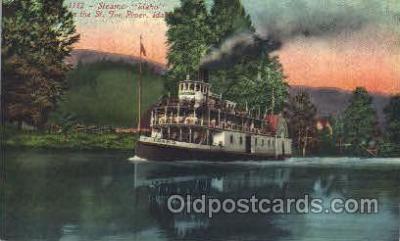 shi052021 - Streamer Idaho,St. Joe River,Idaho,USA Ferry Boat Boats, Ship Ships Postcard Postcards