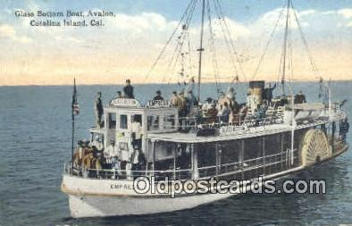 shi052039 - Glass Bottom Boat, Avalon Catalina Island, California, CA USA Ferry Ship Postcard Post Card