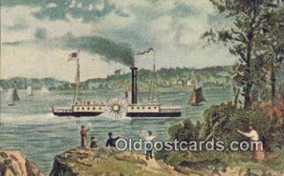 shi052062 - Robert Fulton's Clermont, Albany, New York, NY USA Ferry Ship Postcard Post Card