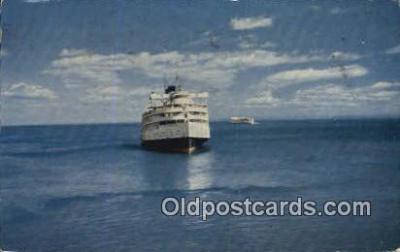 shi052079 - Passing Ships, Saguenay Trip Ferry Ship Postcard Post Card