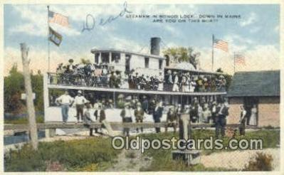 shi052107 - Steamer In Songo Lock, Maine, ME USA Ferry Ship Postcard Post Card