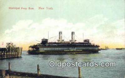 shi052114 - Municipal Ferry Boat, New York, NY USA Ferry Ship Postcard Post Card