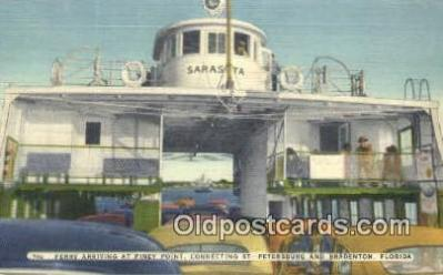 shi052139 - Ferry Arriving At Piney Point, St Petersburg, Florida, FL USA Ferry Ship Postcard Post Card