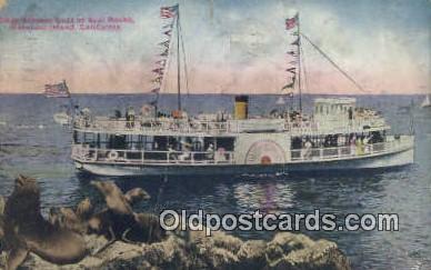 shi052144 - Glass Bottom Boat At Seal Rocks, Catalina Island, California, CA USA Ferry Ship Postcard Post Card