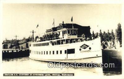 shi052151 - Real Photo - Grayline SS Sightseer At Government Locks, Seattle, Washington, WA USA Ferry Ship Postcard Post Card