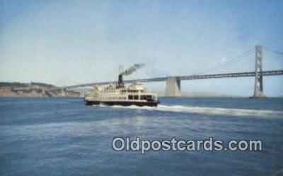 shi052195 - Ferry In Bay, SAN Francisco, California, CA USA Ferry Ship Postcard Post Card