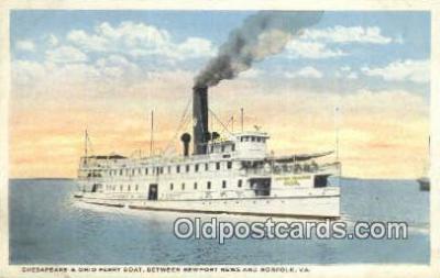 shi052235 - Chesapeake Bay And Ohio Ferry Boat, Norfolk Virginia, VA USA Ferry Ship Postcard Post Card