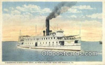 shi052245 - Chesapeake Bay And Ohio Ferry Boat, Norfolk Virginia, VA USA Ferry Ship Postcard Post Card