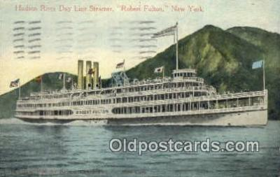 shi052262 - Hudson River Day Line Steamer, Robert Fulton, Albany, New York, NY USA Ferry Ship Postcard Post Card