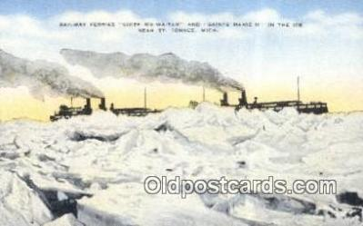 shi052267 - Railway Ferries, St Ignace, Michigan MI USA Ferry Ship Postcard Post Card