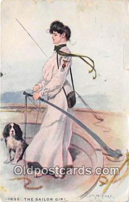 shi053204 - Sailor Girl 1908 Missing Stamp Ship Postcard Post Card