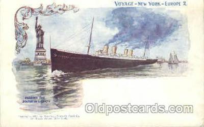 shi054001 - Passing  the Statue of Liberty,Voyage, new York,Usa American SouvenirCard Co. Ship Ships Postcard Postcards