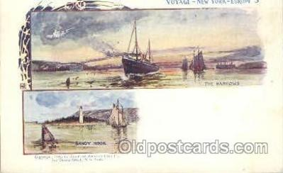 shi054002 - Sandy Hook and the narrows,Voyage,New York,USA American SouvenirCard Co. Ship Ships Postcard Postcards