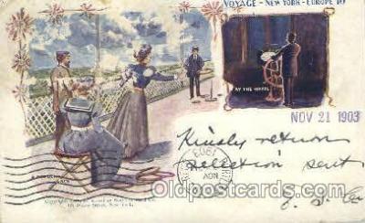shi054006 - A Popular Game and at the wheel,Voyage,New York,USA American SouvenirCard Co. Ship Ships Postcard Postcards