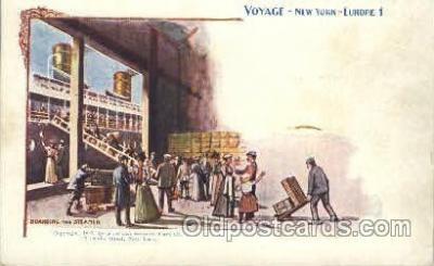shi054010 - Boarding the Steamer,Voyage,New York,USA American SouvenirCard Co. Ship Ships Postcard Postcards
