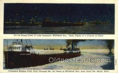 shi055014 - Freighters Making Their Way Through Ice Fields Freighters, Ship Postcard Postcards