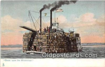 shi055048 - Down Upon the Mississippi  Ship Postcard Post Card