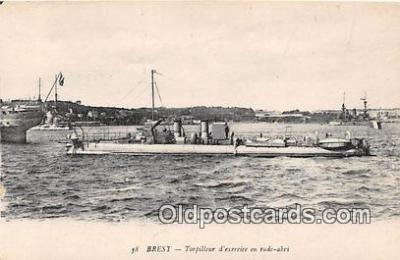 shi055058 - Brest Torpilleur d'Exercice en Rade Abri Ship Postcard Post Card