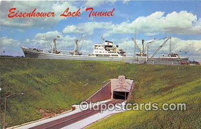 shi055080 - Eisenhower Lock Tunnel Massena, NY USA Ship Postcard Post Card