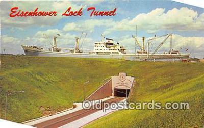 shi055112 - Eisenhower Lock Tunnel Massena, NY USA Ship Postcard Post Card