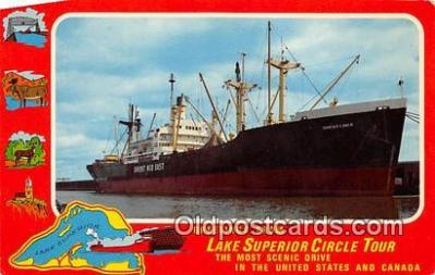 shi055147 - Lake Superior Circle Tour US & Canada Ship Postcard Post Card