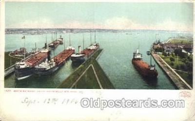 shi058156 - The Locks Sault STE. Marie. Mich, USA Steamer, Steamers, Ship, Ships Postcard Postcards