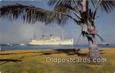shi062091 - Greeting a Liner Honolulu Ship Postcard Post Card