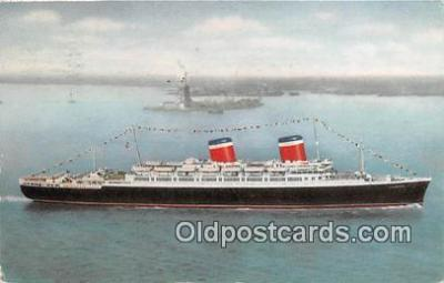 shi062340 - SS America American Flag Luxury Liner Ship Postcard Post Card