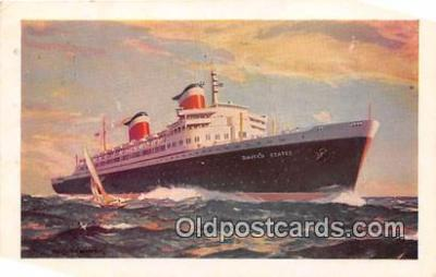 shi062344 - New SS United States New York, Europe Ship Postcard Post Card